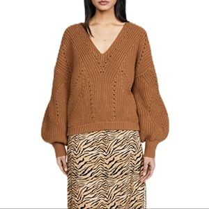 Free People All Day Long V Neck Sweater/ Sahara